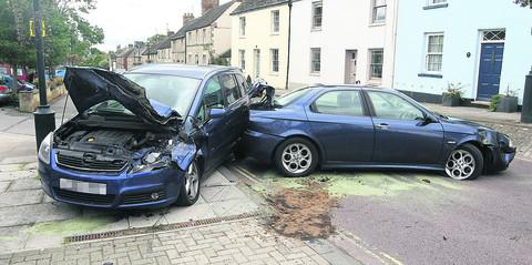 This Is Wiltshire: Two cars and a lorry were involved in an accident in the High Street, Cricklade