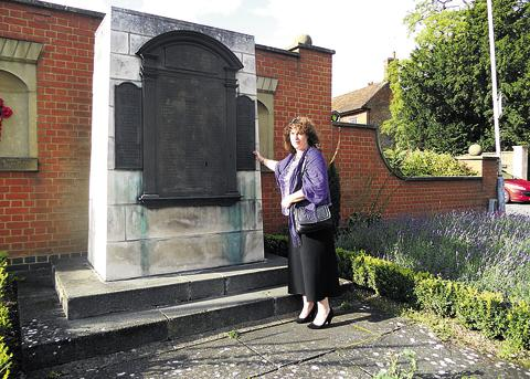 This Is Wiltshire: Lee Gothard at Marlborough War Memorial and, inset, her war hero uncle