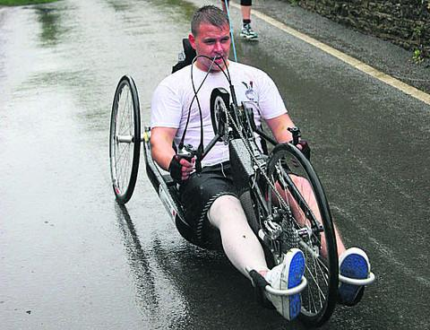 Rifleman Dan Parrack competes on his hand bike