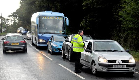 This Is Wiltshire: Traffic queuing near the scene of the accident