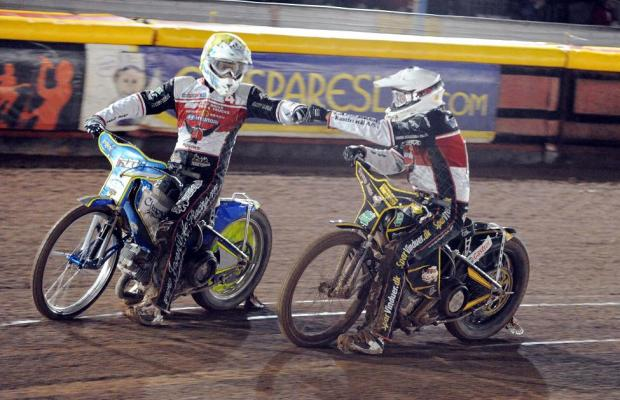Jason Doyle, left, and Peter Kildemand celebrate a maximum in heat three at Birmingham