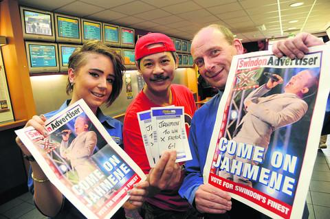 This Is Wiltshire: Kymberly Birch, Bobby Yap and Paul Rattue at William Hill in Covingham