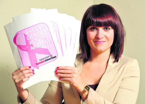 This Is Wiltshire: Health reporter Katie Bond launches the Swindon Advertiser Breast Cancer Action Month