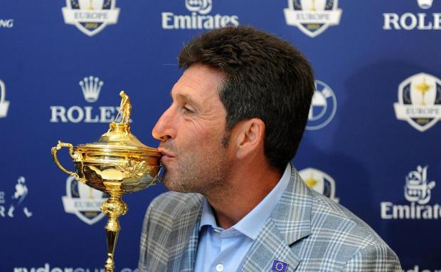 This Is Wiltshire: Jose Maria Olazabal celebrates winning the Ryder Cup