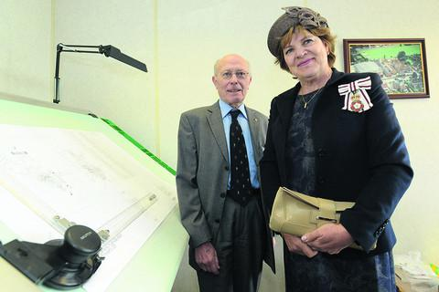 Lord Lieutenant of Wiltshire Sarah Troughton with Ralph Flower, who has worked for Cross Manufacturing for 70 years