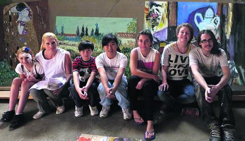 This Is Wiltshire: Set painters Wylaney Russell, Candi Russell, Deavin Fok, Nicole Fok, Julia Bull, Sophie Oates and Dan Rushforth