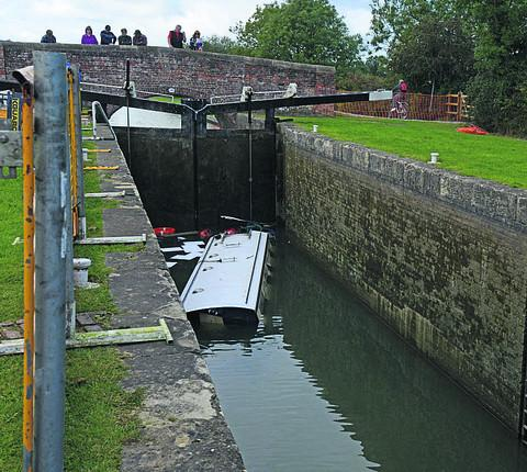 This Is Wiltshire: The sunken boat makes a sorry sight