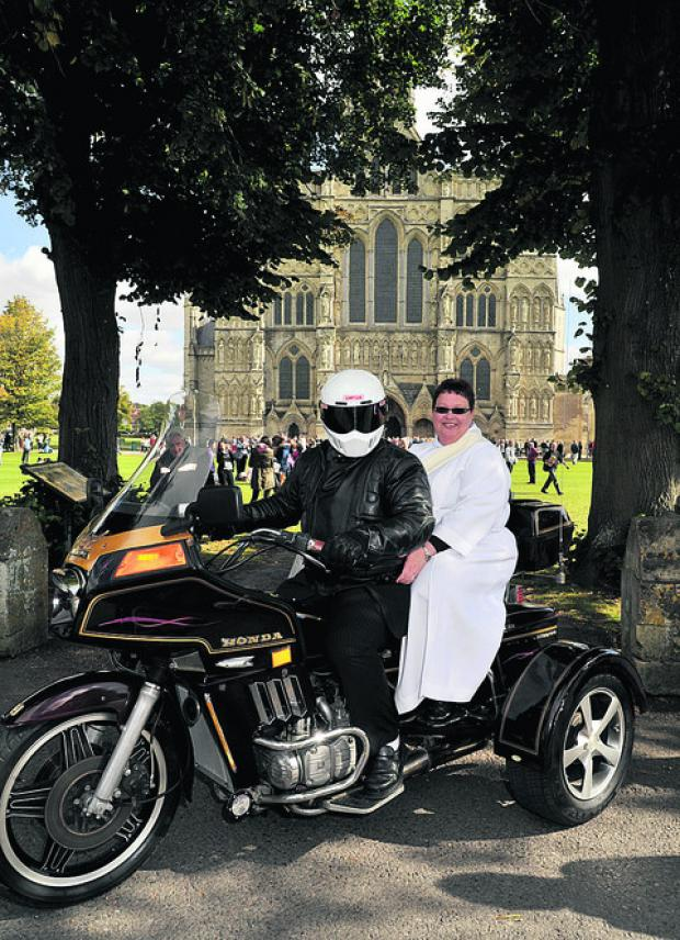 This Is Wiltshire: Ruth Gillings got from her Salisbury ordination to her party by trike