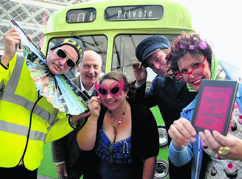 Michael Scott, John Simmons, Sophie Boyce, Ashley Bye and Hilda Sheehan with the vintage bus