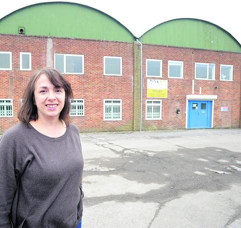 Lucy Wain pictured outside the former industrial unit next to Jewson's as she began her quest to transform it into a skatepark