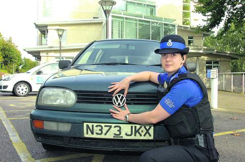 PCSO Sarah Hardwidge is investigating the theft of car badges in Chippenham
