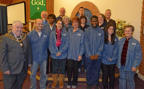 This Is Wiltshire: Mayor Mick Bray with the new street pastors at Freshbrook Evangelical Church