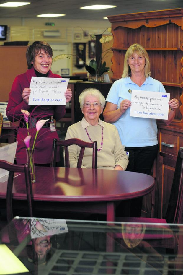 This Is Wiltshire: TEAMWORK: Carolyn Ambrose, deputy manager of the store, shop volunteer Vera Cleverley, and Jeanne Burnett, physio team manager at Dorothy House, Winsley