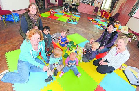 This Is Wiltshire: Sarah Halpin, Freya Priddey-Chan, Lenka Bujnakova and Beth Robertson with children at the playgroup
