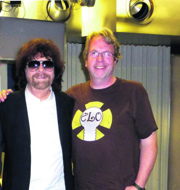 This Is Wiltshire: Ian Hawkes, right, with idol Jeff Lynne at The One Show