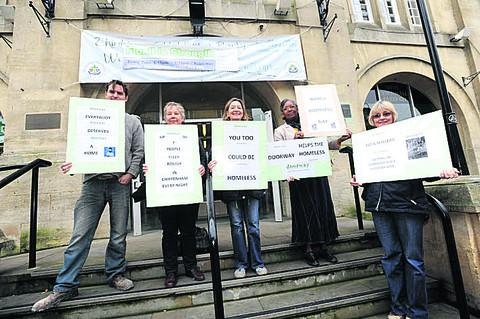 This Is Wiltshire: Alex, Bev, Mary, Chloe and Jackie outside Chippenham Town Hall yesterday