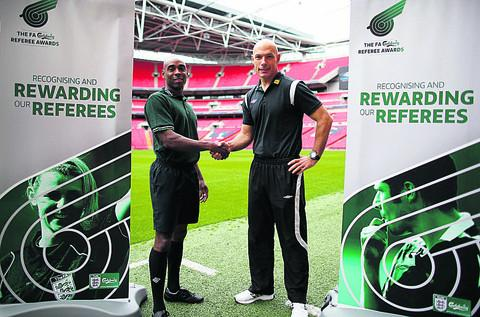 This Is Wiltshire: Sam Allison (left) with Howard Webb at Wembley