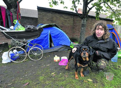 Mercedes Creed has been living out of two small tents in Westbury for the past two weeks