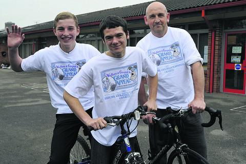 This Is Wiltshire: James Wood, centre – with his cycle ride team of Ashley Hart, left, and Mike Slater