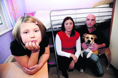 This Is Wiltshire: Mandy Morse, Leanne Morse, Dave Fox and Rex the dog. Inset, the injured fox which was found in Mandy's bedroom in Park South