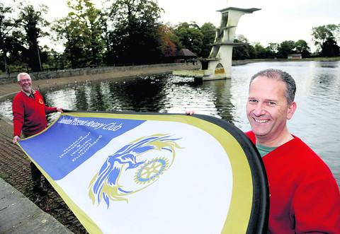 This Is Wiltshire: Dragon boat committee member Michael Slipper and Rotary Club of Swindon Phoenix president Paul Parfrey