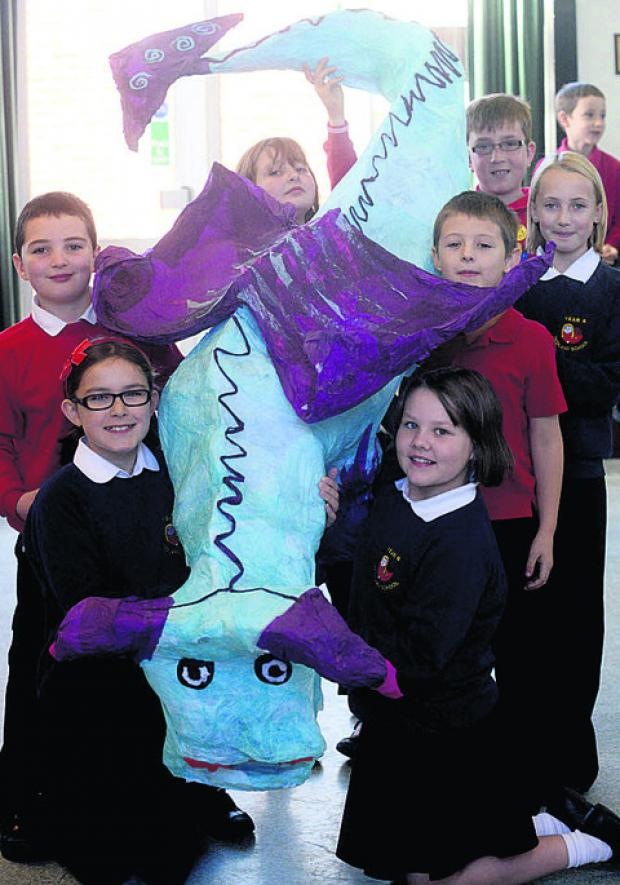 This Is Wiltshire: Pupils with one of their dragons