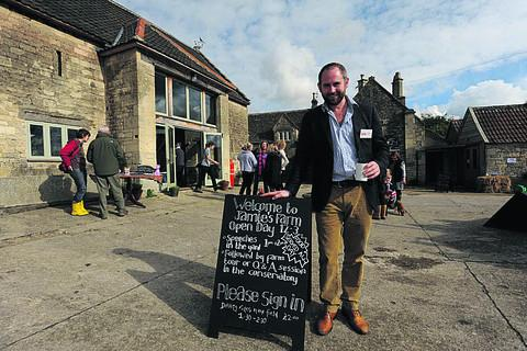 This Is Wiltshire: Jamie's Farm founder Jamie Feilden welcomes visitors to the open day