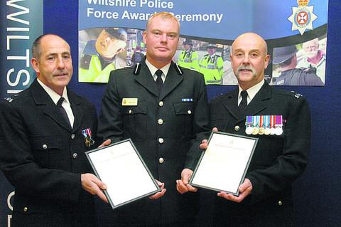 This Is Wiltshire: Deputy Chief Constable Mike Veale with PC Ian Lewis and PC Phil Kibble