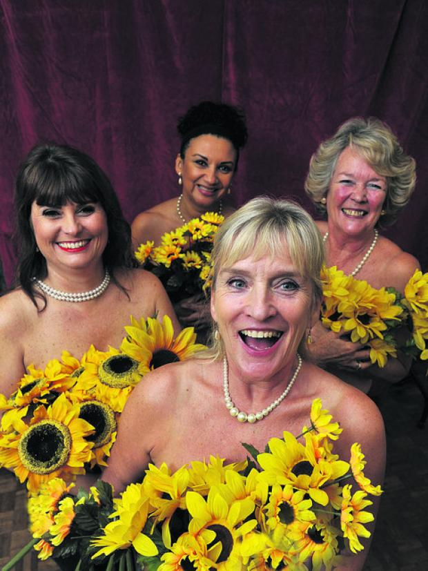 This Is Wiltshire: Bradfordians' Calendar Girls getting in character, from left, Karen Payne, Jenny Middleton, Sue Bolden and Lynne McCaffrey