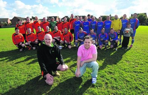 This Is Wiltshire: Chris Penelhum, left, with his team and Robbie Newton, right, with the TP All Stars at Lambrok fields