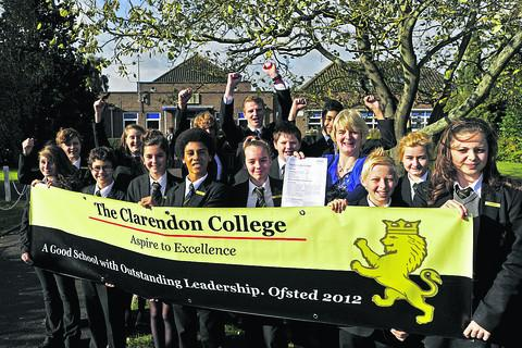 This Is Wiltshire: Clarendon College house captains and school ambassadors celebrate with deputy headteacher Catherine Szabo