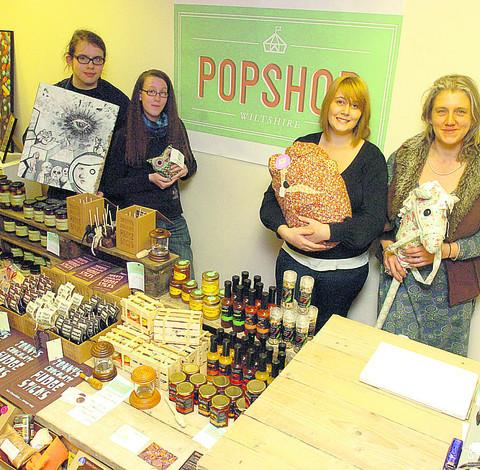 This Is Wiltshire: Wil Tarrant, Bex Harris, Kita Bye and Ellie Gill help in the shop