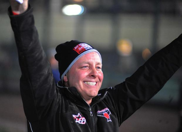 This Is Wiltshire: Alun Rosster celebrates his side's Elite League triumph