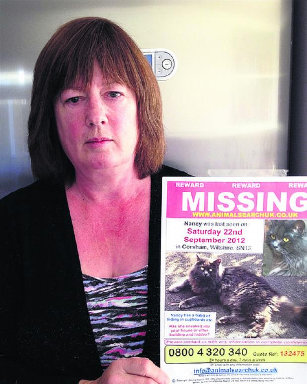 This Is Wiltshire: Clare Johnston with a poster of her missing cat, Nancy