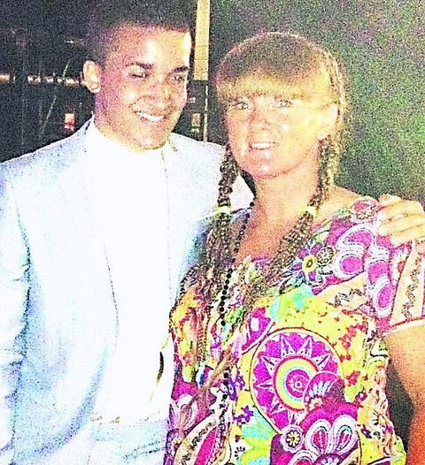 Jahmene and his mother Mandy at the X Factor