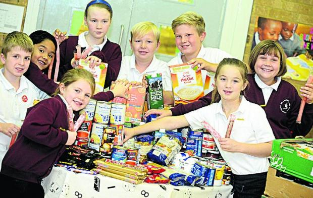 This Is Wiltshire: FOOD GLORIOUS FOOD St Leonards school council members handed over £250 worth of food to Swindon Foodbank                  Picture:  T
