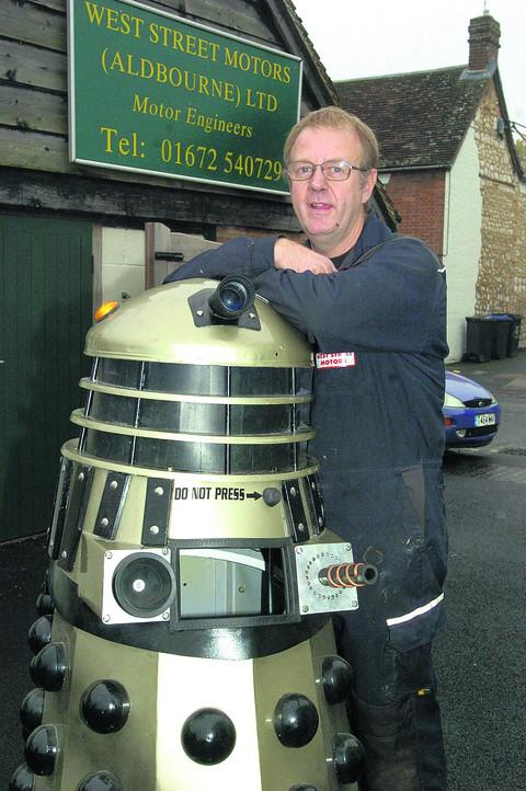 Tim Beattie with his Dalek bin