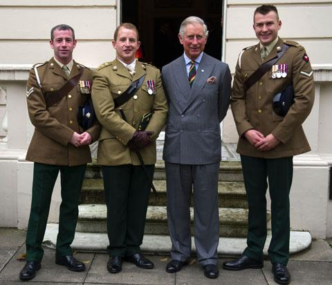 This Is Wiltshire: The Prince of Wales  meets Corporal Nick Webb, Corporal Robert Harmer and Captain Adam Crookshank at Clarence House