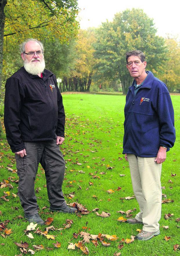 This Is Wiltshire: Bob Berry and former Chippenham Folk Festival director Dick Stanger at the site of the proposed skate park
