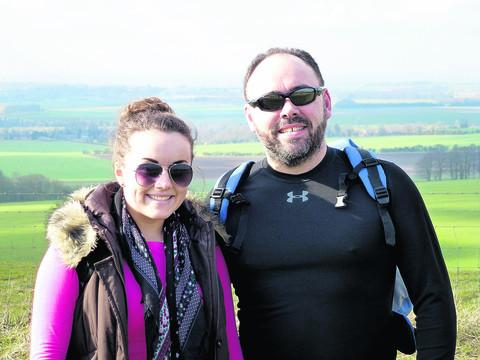 This Is Wiltshire: Hannah Pridding and her dad Ian during a walk along the Ridgeway in preparation for the Sahara Challenge