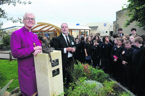 This Is Wiltshire: Bishop of Ramsbury the Rt Rev Edward Condry and school head James Colquhoun with the new statue.