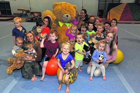 This Is Wiltshire: pre-schoolers at the Wiltshire School of Gymnastics on Friday with Big Tedine Wallace