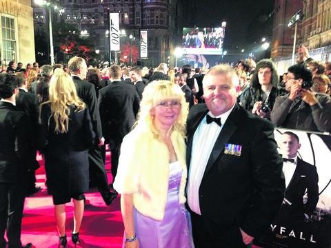 This Is Wiltshire: Mike and Jane Jolly, of Nythe, Swindon, on the red carpet at the world premiere of the new Bond film Skyfall