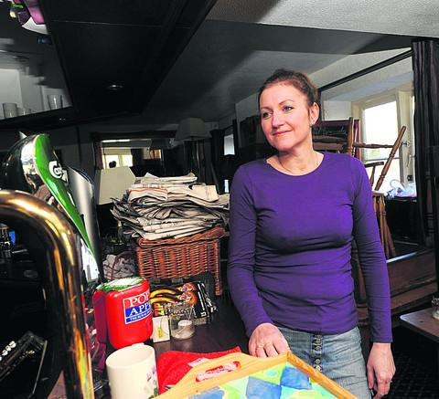 This Is Wiltshire: Paula Webley pictured after the flooding earlier this month