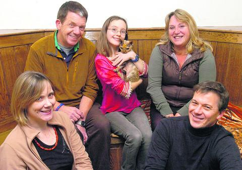 This Is Wiltshire: Andy and Jo Sheppard, back, with Eleanor Tew and Cleo and, front, her parents Anne and Rob Tew