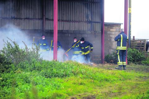 A fire crew from Cricklade on the site