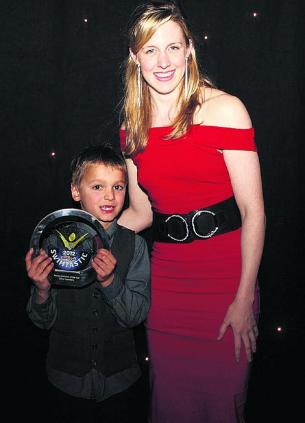 Oliver Saunders with London 2012 Olympian Hannah Miley