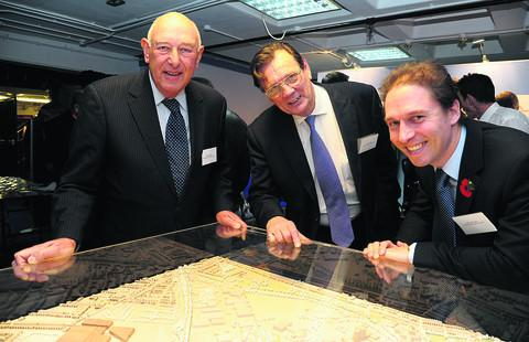 This Is Wiltshire: Martin Barber, Moirai capital investments, Coun Garry Perkins, children's services, and Coun Keith Williams, cabinet member for leisure & transport, survey the plans for the Oasis development