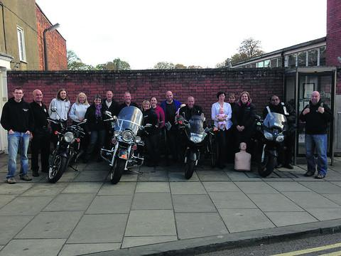 The group of 13 Wiltshire Bikers Club members got a nationally-recognised first aid qualification after their training for accidents and emergencies