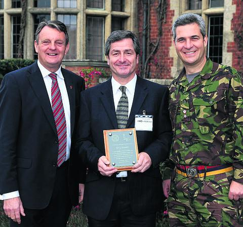This Is Wiltshire: Terry Gosden with PGA captain Eddie Bullock, left, and Lt Col Tristan Crew